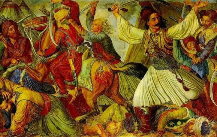 Ο Μάρκος Μπότσαρης επιτίθεται στο στρατόπεδο των Τούρκων στο Καρπενήσι. Τμήμα από τη ζωφόρο με θέματα από την Ελληνική Επανάσταση που κοσμεί την Αίθουσα Ελευθερίου Βενιζέλου.